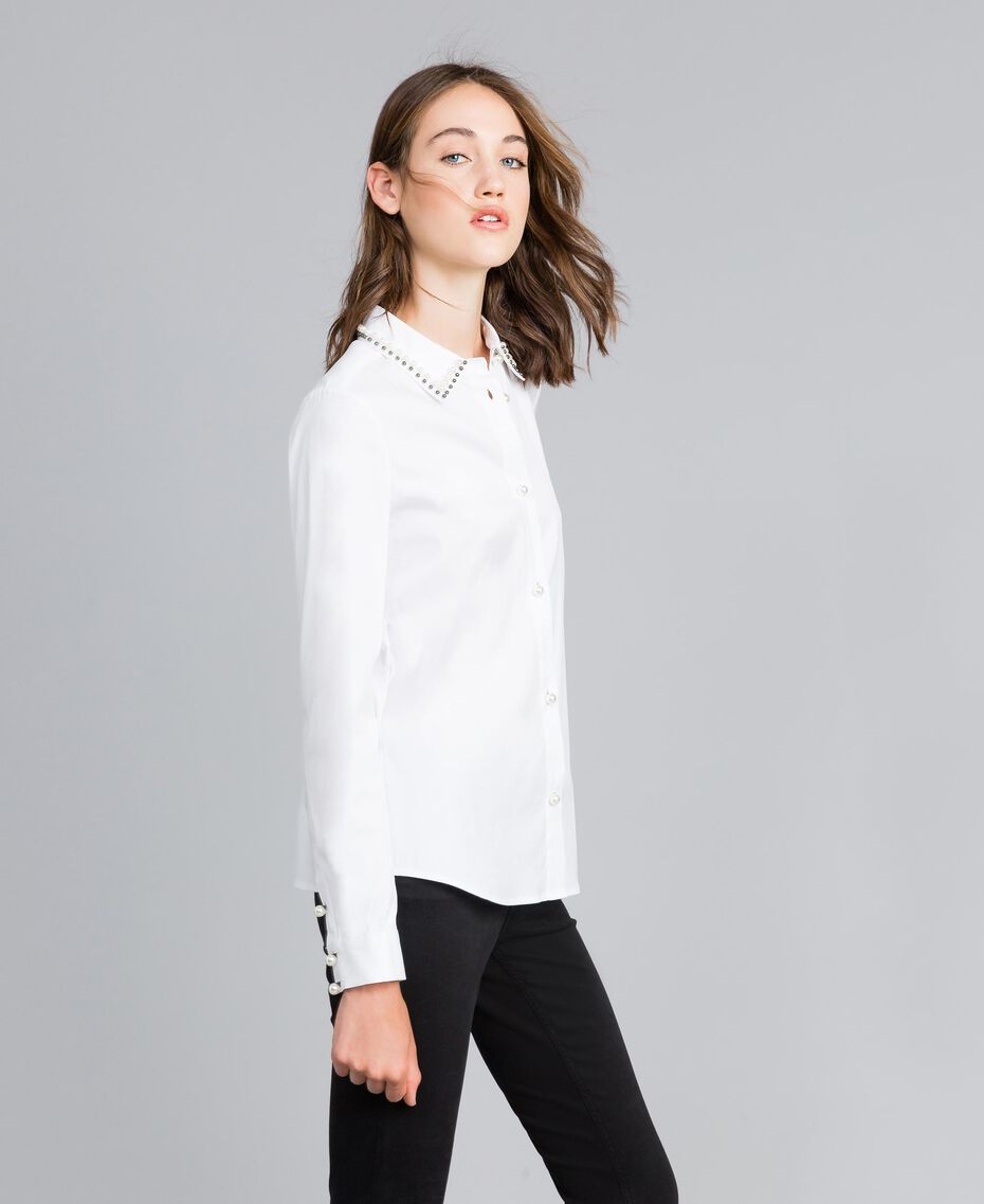 "Stretch poplin shirt ""Ice"" White Woman JA82JB-02"