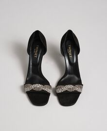 Suede sandals with rhinestones Black Woman 192TCP12C-05