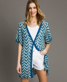 Knitted lurex cardigan Antigua Blue Woman 191LM3KAA-03