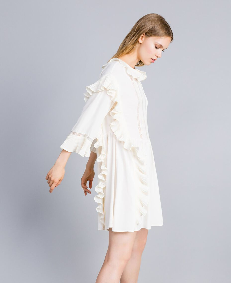 Robe courte en soie mélangée avec plissé Blanc Neige Femme TA823P-02