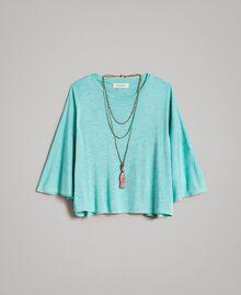 "Jersey T-shirt and multiclour necklace ""Island Paradise"" Light Blue Melange Child 191GJ2720-01"