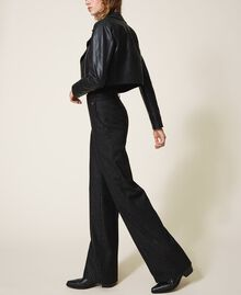 "Wool blend wide leg trousers Black / ""Lurex"" Gold Pin Stripe Woman 202TT2171-02"