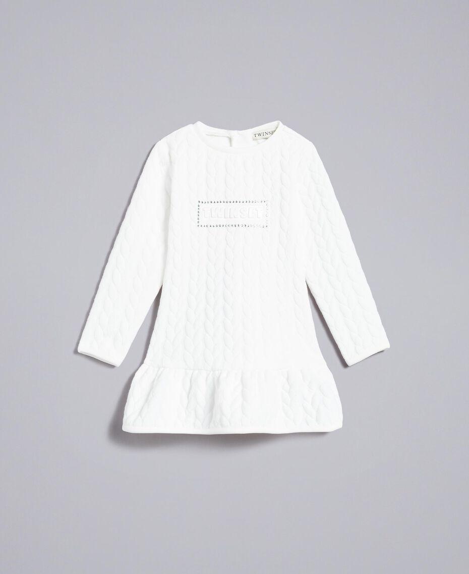 Kleid aus Sweatstoff mit Steppmotiv Mattweiß Kind FA82NP-01