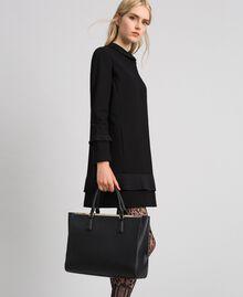 Sac cabas en similicuir avec logo Noir Femme 192TO8050-0S
