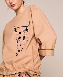 Blusa in popeline ricamo di paillettes Light Brown Donna 201ST2025-04