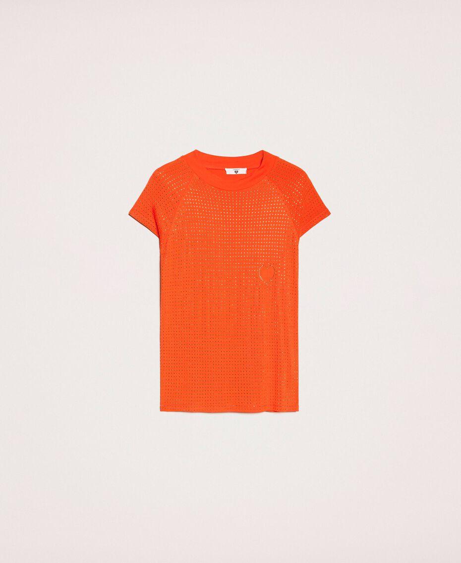 """Футболка, полностью отделанная заклепками Оранжевый """"Витаминный"""" женщина 201LL2DAA-0S"""