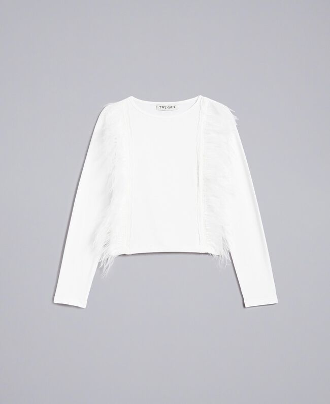 Cotton t-shirt with feathers Off White Child GA827B-01