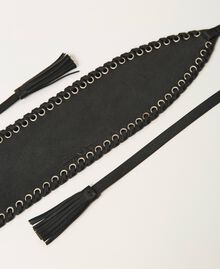 Cinturón fajín de piel con velas Negro Mujer 211TO506C-03