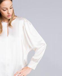Bluse aus Satin aus Seidenmischung Weiß Schnee Frau TA82YA-04