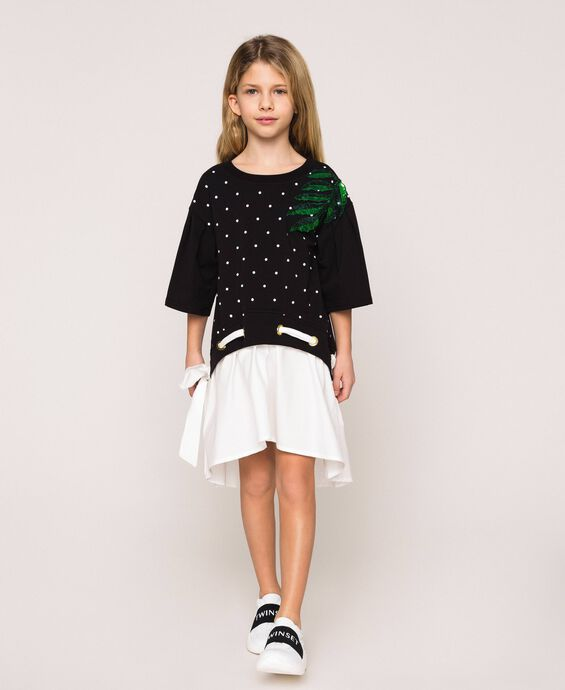 Plush dress with polka dots and poplin