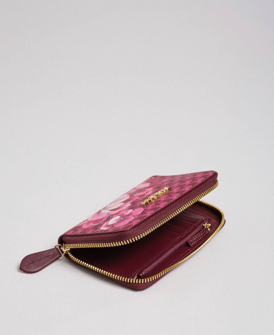 Small printed faux leather wallet Beet Red Butterfly Floral Print Woman 192TA701A-03