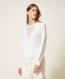 Wool blend jumper with lace White Snow Woman 202TT3133-01