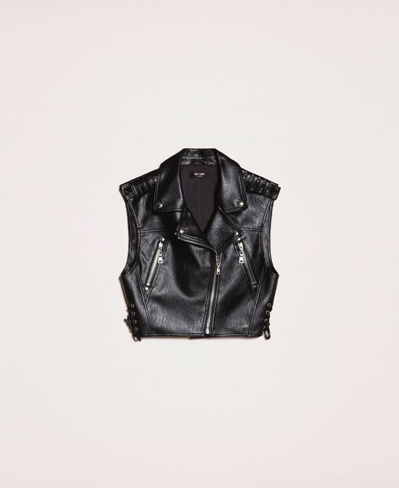 Faux leather cropped waistcoat