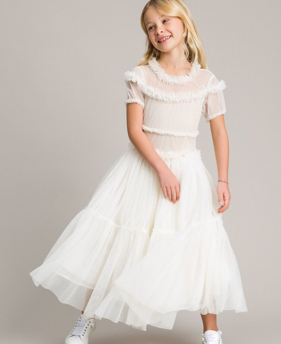 Tulle long dress Pale Cream Child 191GJ2Q20-0S