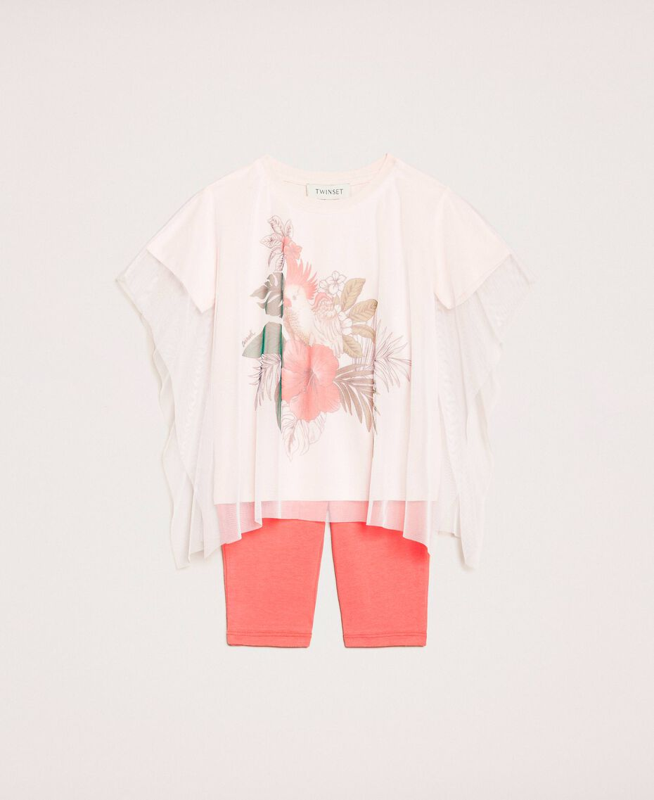 """Maxi T-shirt with tulle and leggings Pale Pink Cockatoo Print / """"Calypso Coral"""" Red Child 201GB2312-01"""