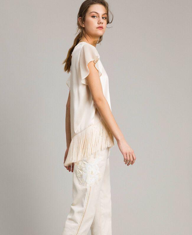"""T-shirt en satin avec franges Beige """"Voie Lactée"""" Femme 191LM2BBB-03"""