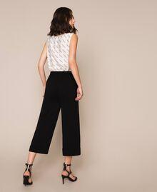 Wide georgette trousers Black Woman 201TP202C-03