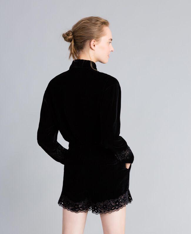 Embroidered velvet shirt Black Woman PA823H-03