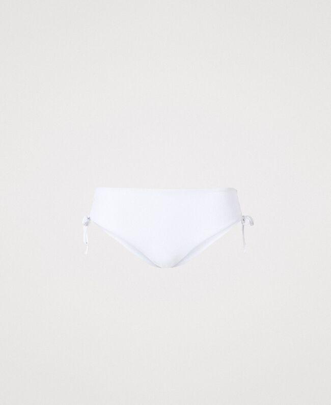 Bikinihose mit Tunnelzug an den Seiten Weiß Frau 191LBME99-01