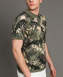 "Crêpe cotton printed polo shirt All Over ""Palms"" Camouflage Print Man 191UT3061-02"