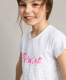 Jersey T-shirt with lace and print White Child 191GJ2040-04