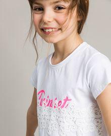 T-shirt en jersey orné de dentelle avec imprimé Blanc Enfant 191GJ2040-04