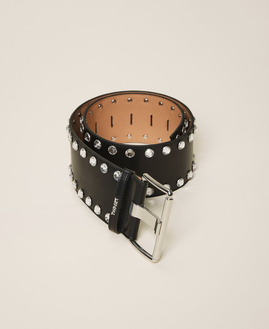 Leather belt with bezels and logo Black Woman 202TA4344-02