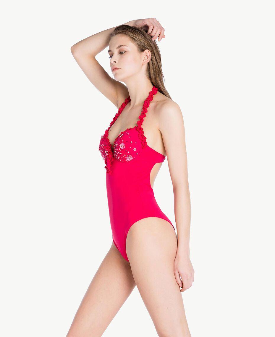 Maillot de bain une pièce broderie Rouge «Pink Twist» Femme BS8E00-03