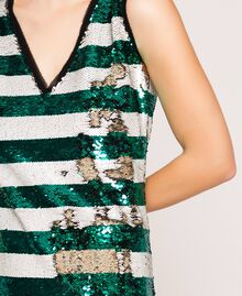 "Full sequin two-tone stripe dress Pale Emerald Sequin / ""Silk"" White Stripes Woman 201ST2222-04"