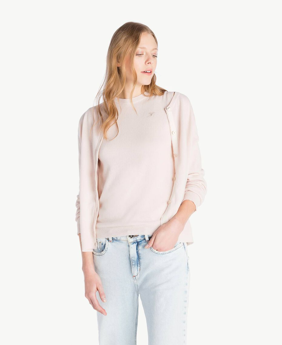 Cashmere cardigan and top Pale Ecru Woman PS83EB-01