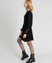 Robe avec dentelle et tulle plumetis Noir Femme 192TP3170-02