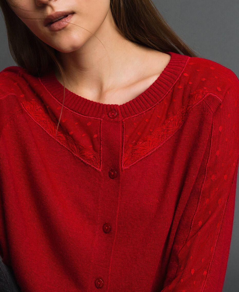 Cardigan en angora mélangé avec tulle et dentelle Rouge Ardent Femme 192LL3CSS-01