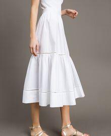 Jupe mi-longue en popeline Blanc Femme 191TT224B-02