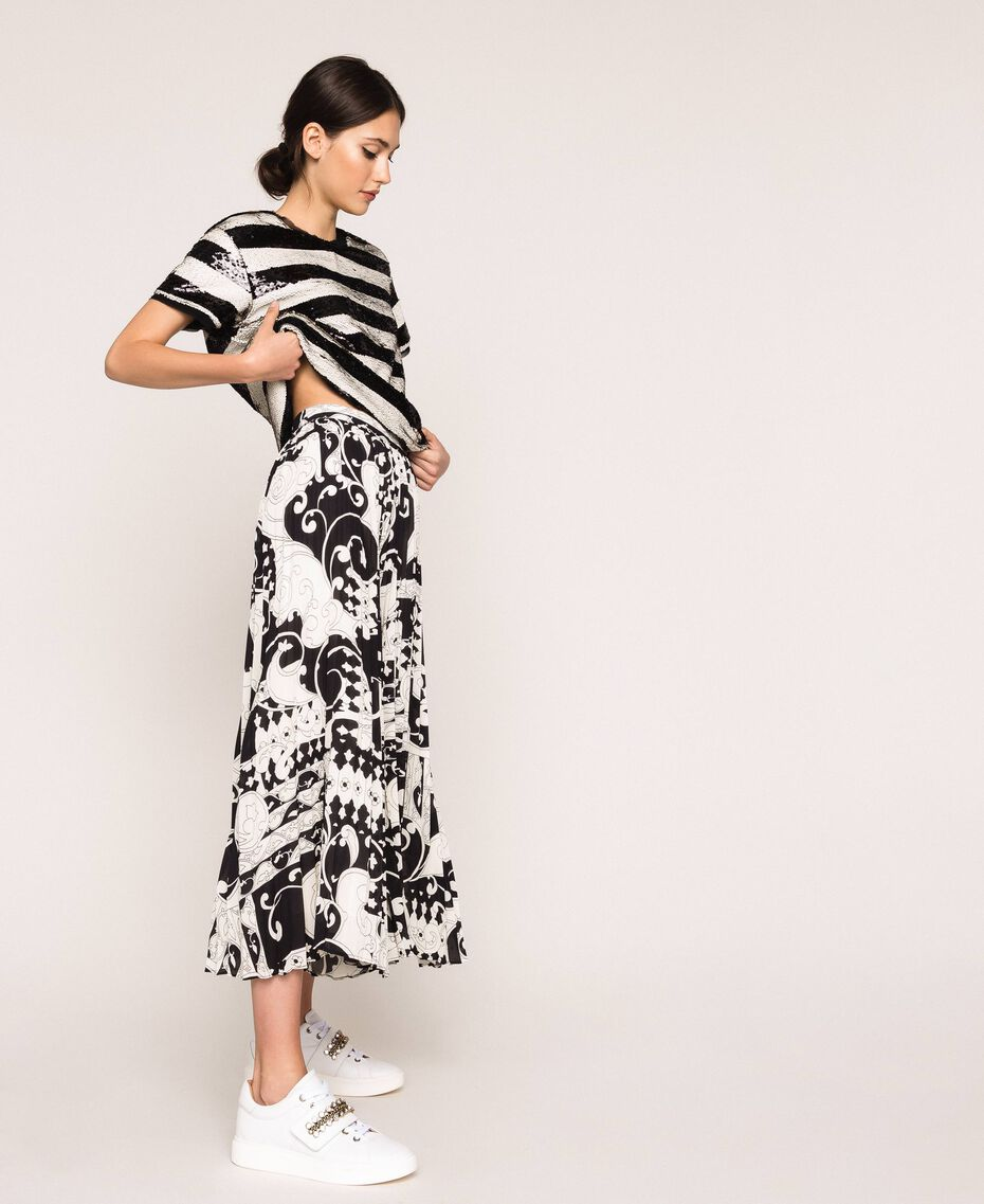 Jupe-culotte en crêpe georgette imprimé Imprimé Liberty Blanc / Noir Femme 201ST213H-02