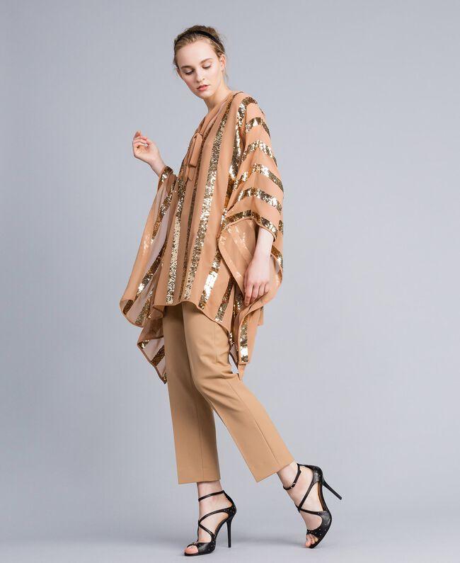 Poncho aus Georgette mit Pailletten Camel Frau PA82J4-0T