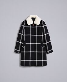 Manteau long en drap à carreaux Bicolore Carreaux Noir / Blanc Neige Femme PA826Z-0S
