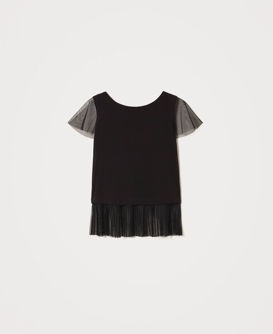 T-shirt with pleated flounce Black Woman 202MP2391-0S