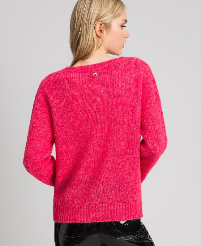 "Mohair blend jumper with laminated print ""Pink Gloss"" Woman 192MT3220-04"