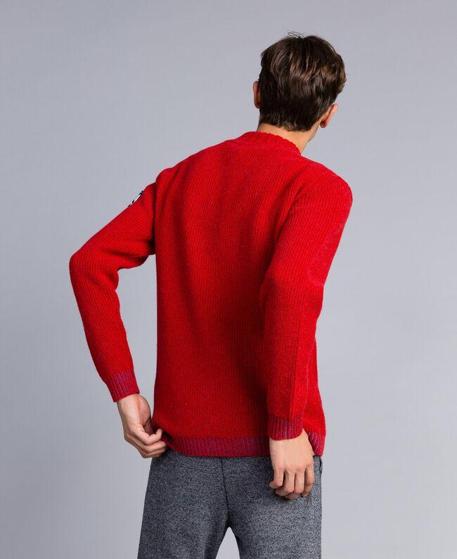 Pull en laine et alpaga Rouge Coquelicot Homme UA83DC-03