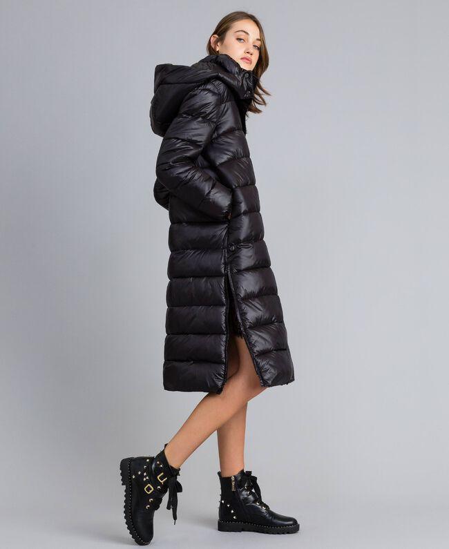 Long nylon padded jacket Black Woman YA82AB-01