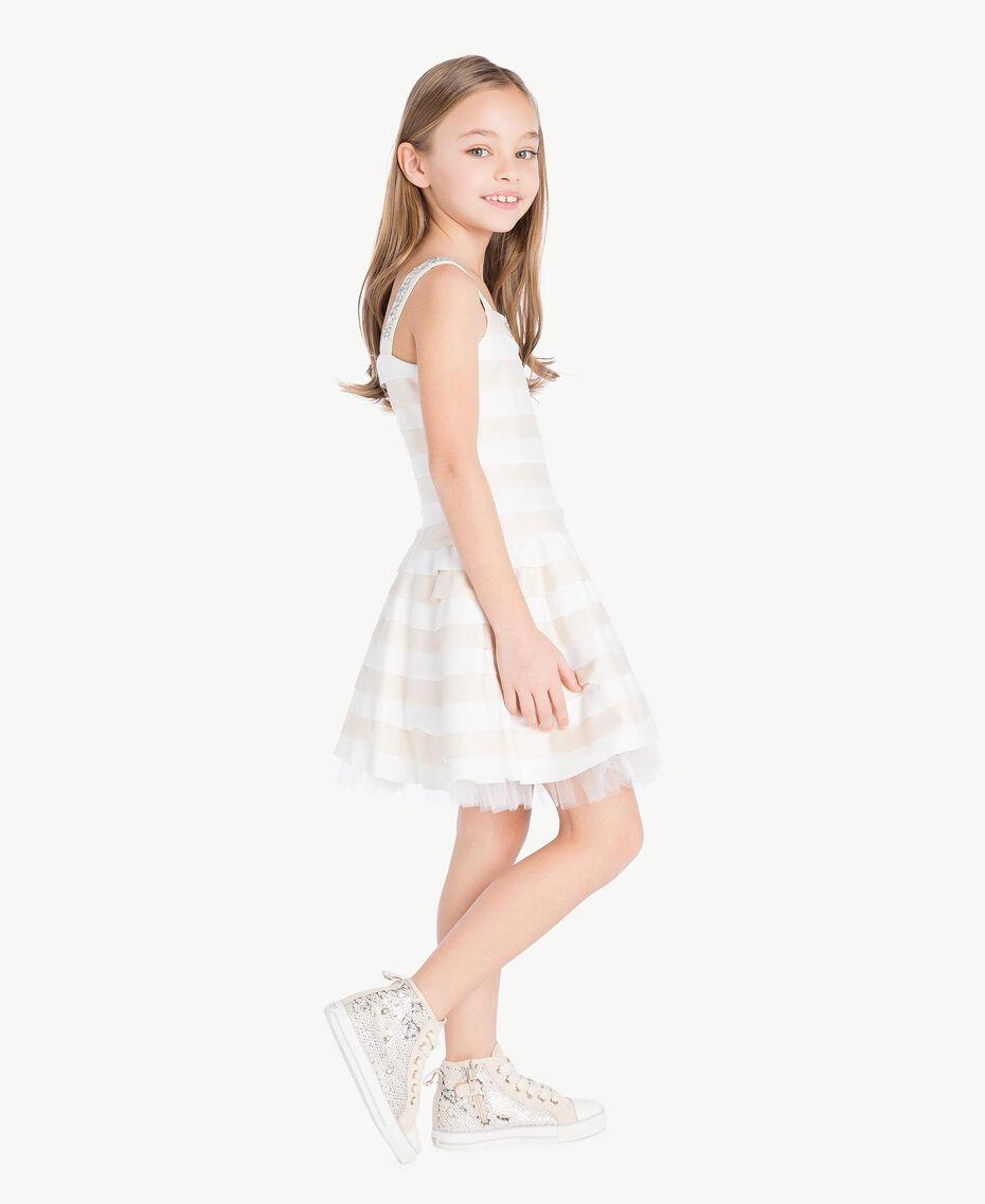Kleid mit Strass Zweifarbig Chantilly / Papyrusweiß Kind GS8LBA-03