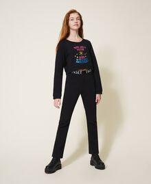 Расклешенные брюки из футера Черный Pебенок 202GJ2812-01