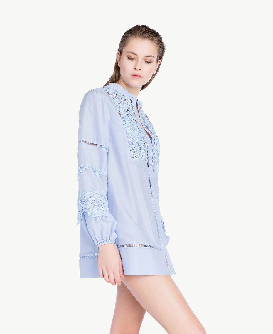 """Lace shirt """"Blue Foam"""" Blue Woman BS8FAA-03"""