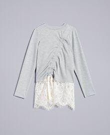 Sweatshirt aus Stretch-Baumwolle mit Raffung Zweifarbig Hellgrau-Melange / Off White Kind GA82GB-01
