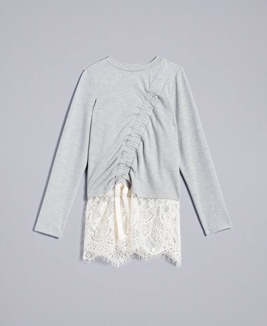 Sweat en coton stretch avec drapé Bicolore Gris Clair Chiné / Blanc Cassé Enfant GA82GB-01