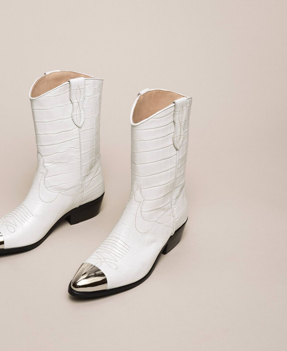 "Leather Texas boots with crocodile print ""Snow"" White Crocodile Print Woman 201TCP040-03"