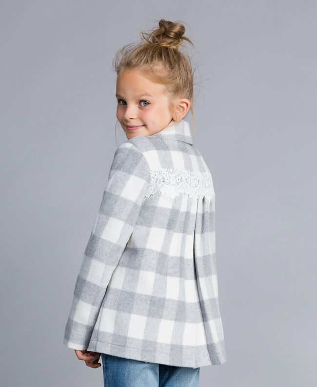 "Short check coat ""Grey Check"" / White Jacquard Child GA82CN-04"