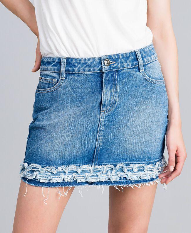 Mini-jupe en denim Bleu Denim Femme JA82Y1-01