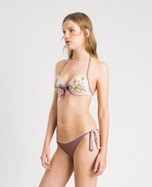 "Push-up-Bikinitop aus Tüll mit Stickerei ""Bronze Powder"" Braun Frau 191LBM144-0S"