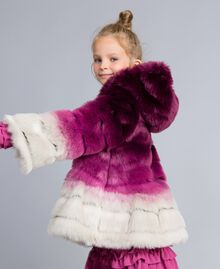 "Faux fur reversible jacket ""Grape"" Purple / ""Bougainvillea"" Pink Gradient Print Child GA82AR-02"